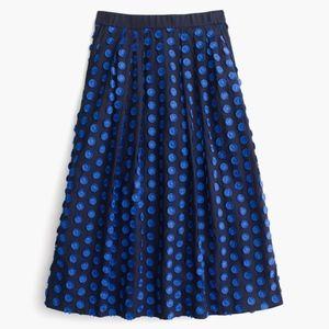 J. Crew Midi Skirt in Fringe Dot Blue G3114